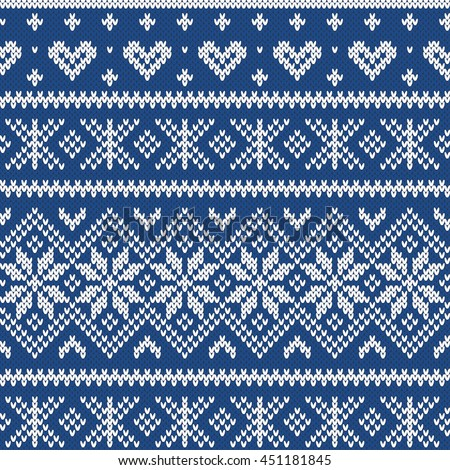 Festive Sweater Fairisle Design Seamless Knitted Stock Vector ...