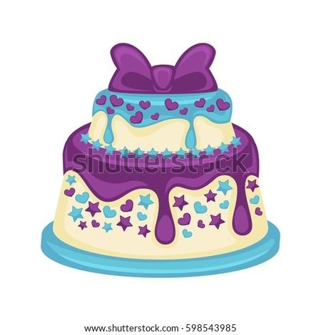 Festive Twotier Cake Beautiful Purple Bow Stock Vector 598543985