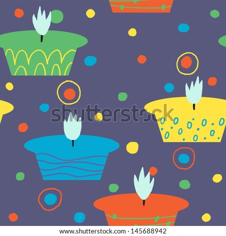 Festive vector seamless pattern with colored candles - stock vector