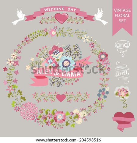 Festive Wedding design template set  in Retro style.Floral  wreath,elements ,vignettes, ,hearts,ribbon,curl. For Wedding  invitation, greeting card, cover.Festive celebration vector. - stock vector