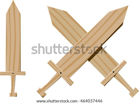 few fun children wooden swords for games and training