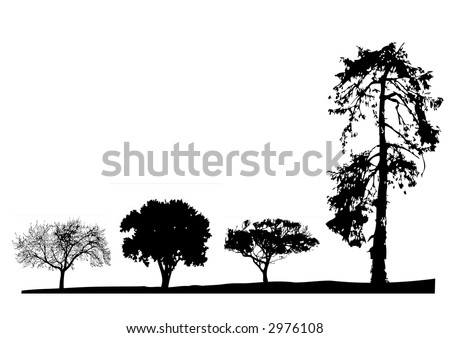 Few silhouette of tree in a row(vector, illustration ) - stock vector