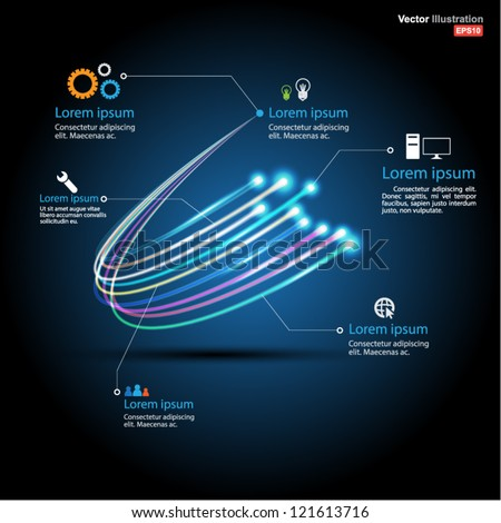 fiber optic vector / business communication / network technology / can use for brochure / infographic - stock vector