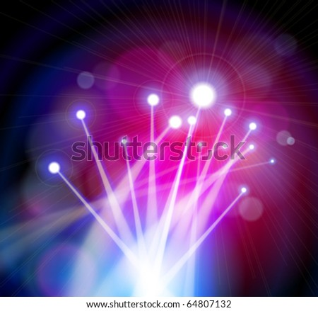 Fiber Optics Color Magical Lights - blue background - stock vector