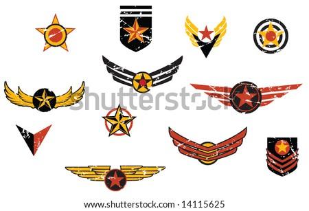 Fictional military emblems logos - stock vector
