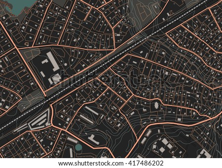 Fictional plan a residential area of private housing. Vector illustration in dark tones - stock vector
