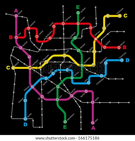 Fictitious City Public Transport Scheme on Black Background - stock vector