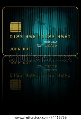 Fictitious Credit Card With World Map on Dark Background - stock vector