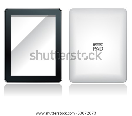 fictitious touch pad without buttons with fictitious name on it - stock vector