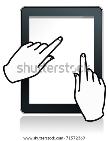 fictitious touch tablet  with hands - stock vector