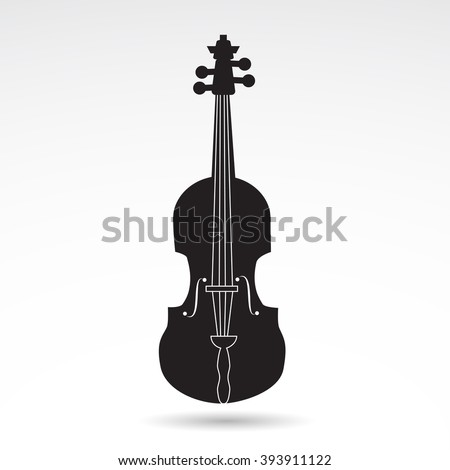 Fiddle, violin, music instrument icon on white background. Vector art. - stock vector
