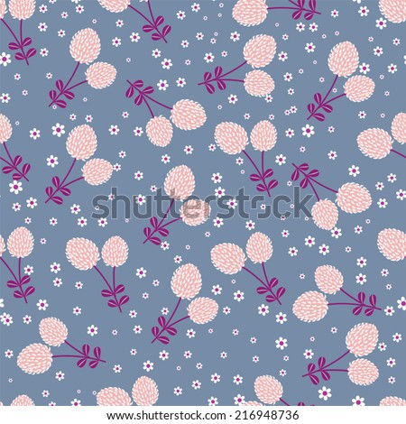 Field flowers in vector background (seamless pattern)