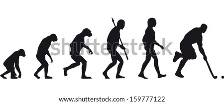 field hockey evolution - stock vector