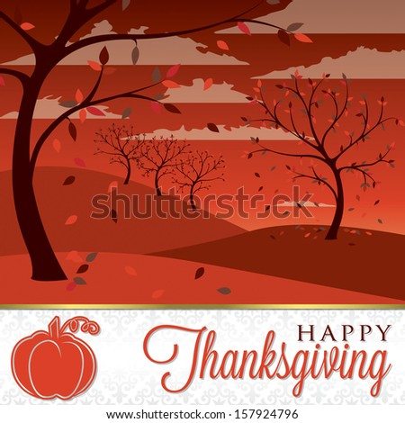 Field of trees Thanksgiving card in vector format. - stock vector