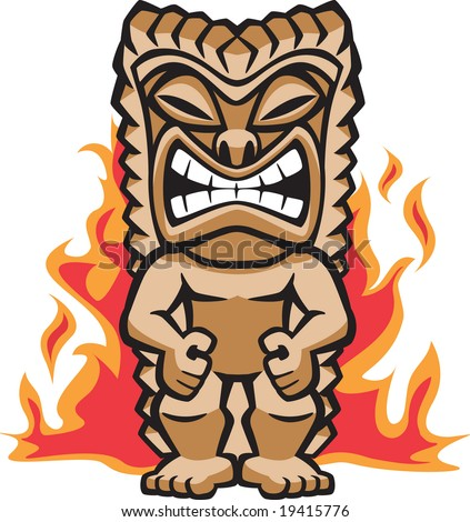 Fierce Warrior Tiki - stock vector
