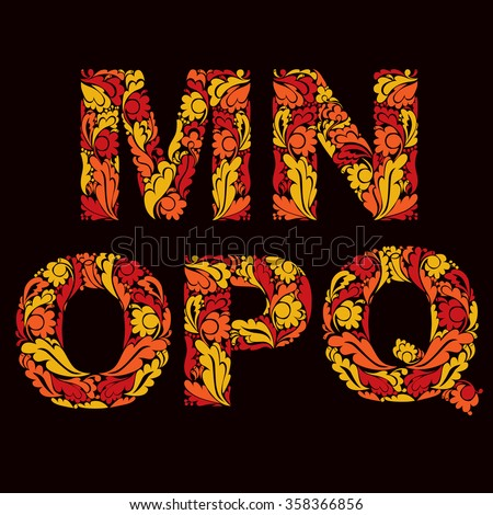 Fiery autumn style vector font, typeset with eco floral ornament. M, N, O,P, Q. - stock vector