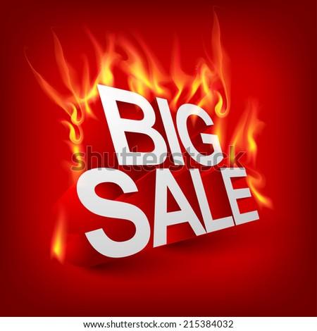 Fiery Big sale - stock vector