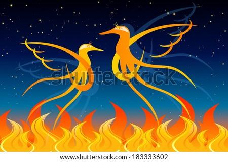 Fiery Birds - stock vector