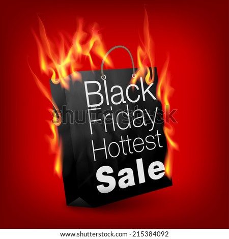 Fiery black friday sale design with shopping bag - stock vector