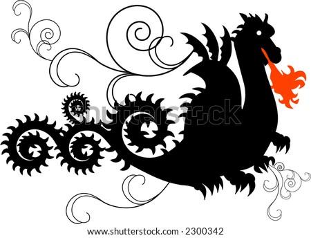 fiery dragon series - stock vector