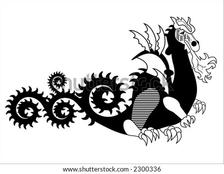 fiery dragon series (long tail) - stock vector