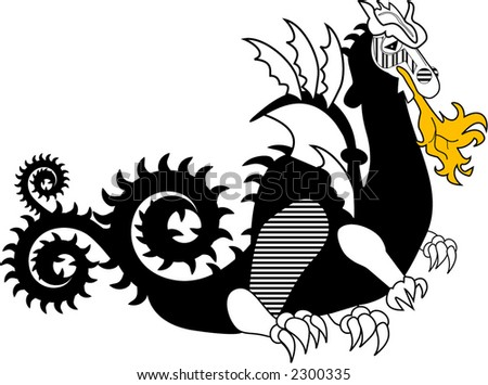 fiery dragon series (short tail) - stock vector