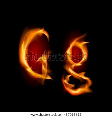 Fiery font. Letter G. Illustration on black background - stock vector