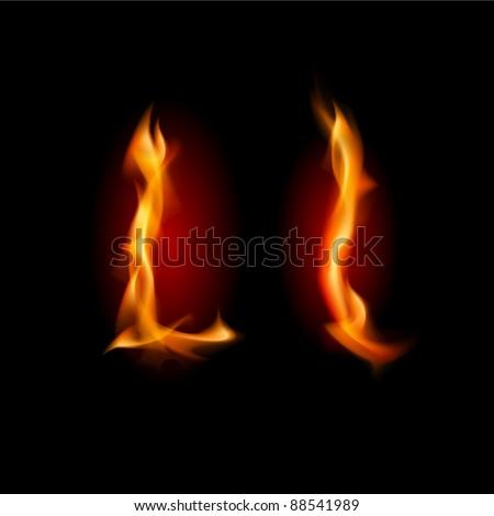 Fiery font. Letter L. Illustration on black background - stock vector