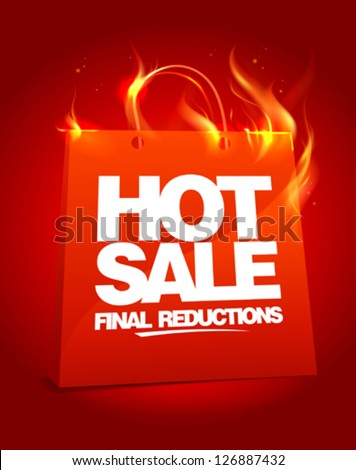 Fiery hot sale design with shopping bag. Eps10 Vector. - stock vector