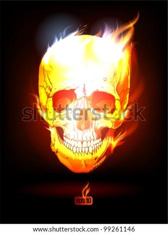 Fiery Human Skull poster. Eps10 Vector. - stock vector