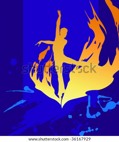 fiery silhouette on the  dark blue background
