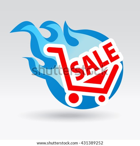 Fiery symbol sale. Sticker and label vector illustration.  - stock vector