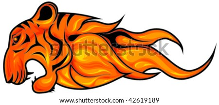 Fiery tiger head symbol vector, horizontal, isolated