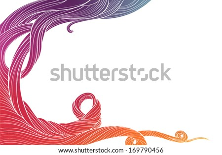 Fiery whirlwind, red swirl hairs - stock vector