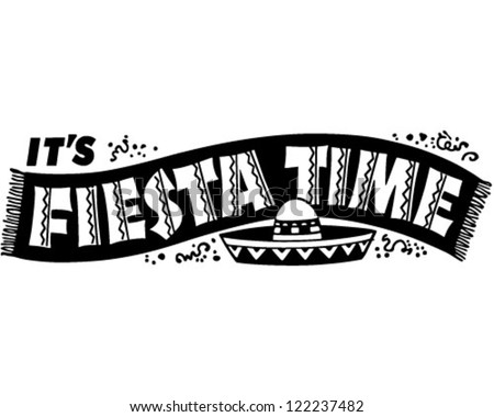 Fiesta Time Banner - Retro Clipart Illustration - stock vector