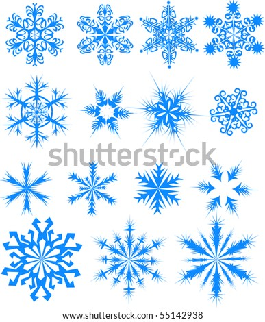 Fifteen blue snowflakes. Vector illustration - stock vector
