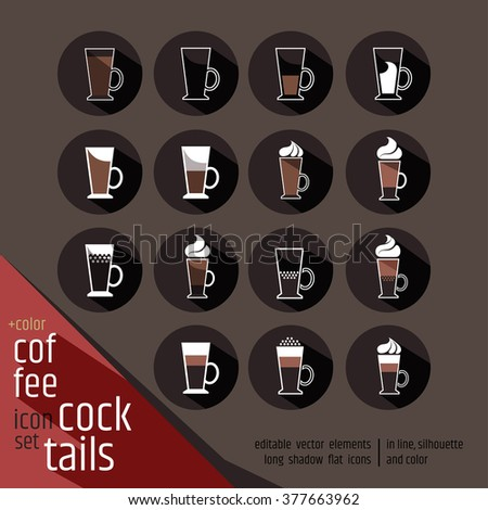 Fifteen colored coffee cocktails vector icon set. Hot chocolate, latte, irish cream glass with marshmallows, cream on top. Round flat design signs with long shadow.