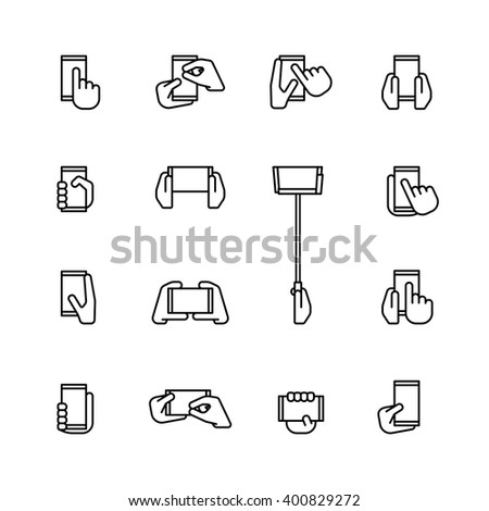 fifteen flat style icons of mobiles and smartphones  isolated on white background - stock vector