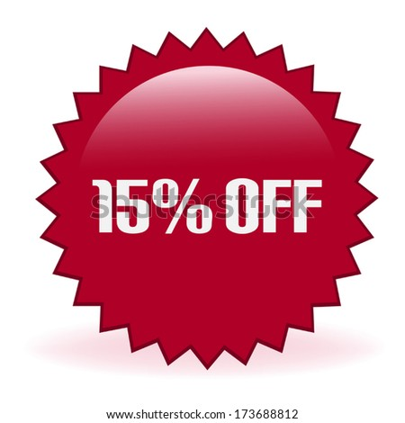 Fifteen Percent Discount Sticker - stock vector