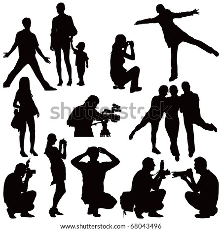 Fifteen vector black silhouettes on white. People taking photos and posing. - stock vector