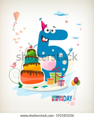 Fifth Birthday card. Color card. - stock vector