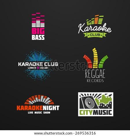 Fifth set music equalizer emblem vector on dark background. - stock vector