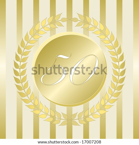 Fiftieth anniversary gold seal of branched leaves and numbered medallion on stripe background. - stock vector