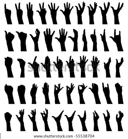 Fifty female hands gesturing black and white silhouettes - stock vector