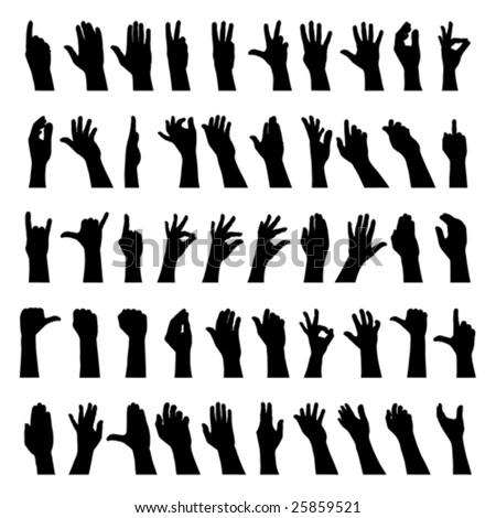 Fifty hands - stock vector