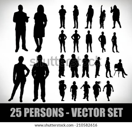 fifty silhouettes people set, business men and women, children and others