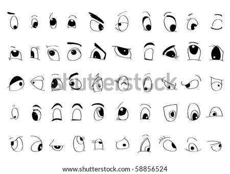Fifty styles of cartoon eyes - stock vector