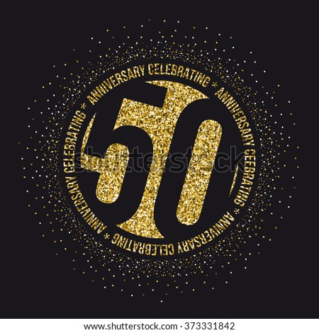 Fifty years anniversary celebration logotype. 50th anniversary logo. - stock vector