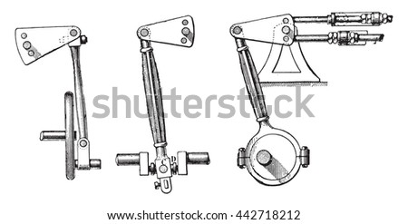 Fig 998- Oscillation axis, Fig 999- Center of oscillation, Fig 1000- Eccentric, vintage engraved illustration. Industrial encyclopedia E.-O. Lami - 1875.