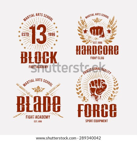 Fight club logo templates. Grunge prints. Martial arts emblems. Vector arts. - stock vector